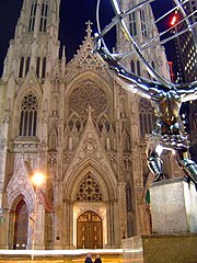 View across Fifth Avenue of the cathedral and Lee Lawrie's colossal bronze statue of Atlas.