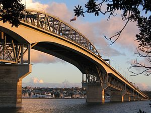 Saint Marys Bay, New Zealand - The suburb and Westhaven Marina seen under the Auckland Harbour Bridge from the North Shore.