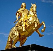 """""""Goldener Reiter""""– Reiterstandbild Augusts des Starken in Dresden-Neustadt (Quelle: Wikimedia)"""