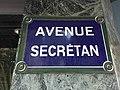 Avenue Secrétan (Paris) - plaque.JPG