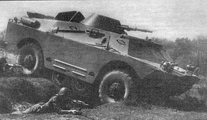 BRDM-2 - Polish BRDM-2 crossing a trench with the use of its belly wheels.