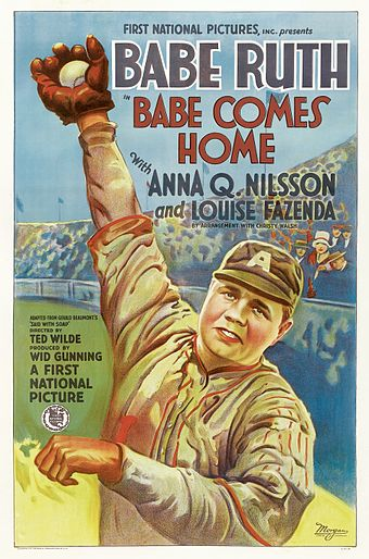 Ruth took time off in 1927 to star with Anna Q. Nilsson in this First National silent production Babe Comes Home. This film is now lost. Babecomeshome-poster-1927.jpg