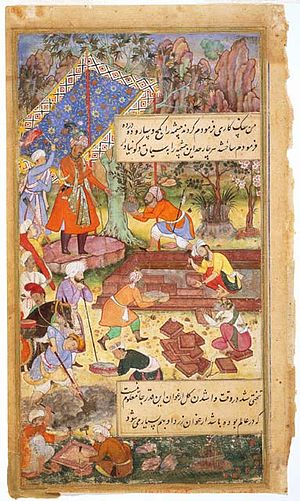 Mughal gardens - Mughal Emperor Babur supervising the creation of a garden