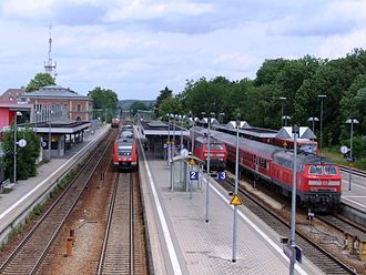 Memmingen station - Station with an incoming train