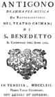 Baldassare Galuppi - Antigono - titlepage of the libretto - Venice 1762.png