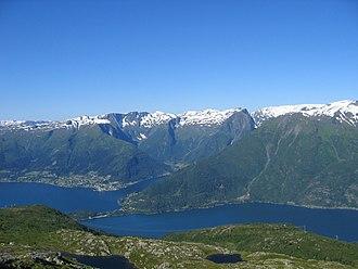 Balestrand - View of Balestrand village (left), the Esefjorden (center), and the Fjærlandsfjorden (right)