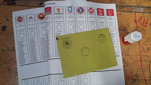 Ballot paper and envelope in 2015 Turkish General Elections