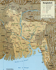A Map showing major rivers in Bangladesh including Jamuna.