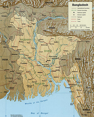 Meghna River - A map showing major rivers in Bangladesh including Meghna.