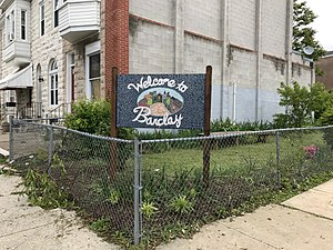 Barclay, Baltimore - Barclay neighborhood welcome sign
