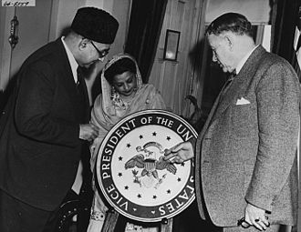 Seal of the Vice President of the United States - Vice President Alben Barkley showing the seal to Prime Minister of Pakistan Liaquat Ali Khan and his wife, Begum Ra'ana Liaquat Ali Khan