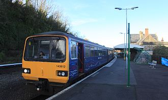 Barnstaple railway station - Image: Barnstaple f GWR 143612+143621 Exmouth service
