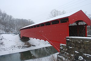 National Register of Historic Places listings in Marion County, West Virginia - Image: Barrackville Covered Bridge Side in Winter