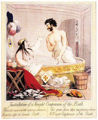 """Pains and Penalties Bill 1820 - In this cartoon, entitled """"Installation of a Knight Companion of the Bath"""", Caroline and Pergami share a bath. Caroline is showered by a spray of bathwater from Pergami's crotch."""