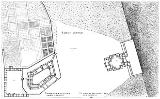 Chateau-Neuf de Saint-Germain-en-Laye - General plan with the Château-Vieux on the left and the Château-Neuf on the right, engraving by Jacques Androuet du Cerceau (1576)