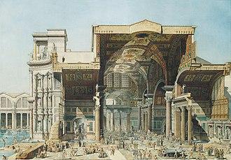 Edmond Paulin - Paulin's cross-section of the Baths of Diocletian (1880)