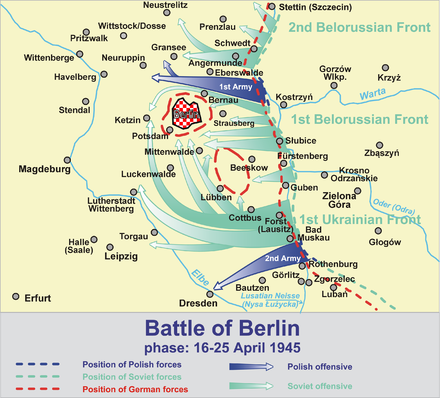Main thrusts of the Red Army and its eastern allies. Battle of Berlin 1945-a.png