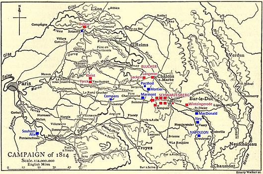 Map shows the strategic situation on 25 March 1814.