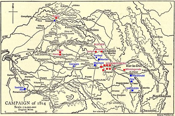 Black and yellow map of the Campaign of 1814 in 1:2,000,000 scale with red and blue units and generals.