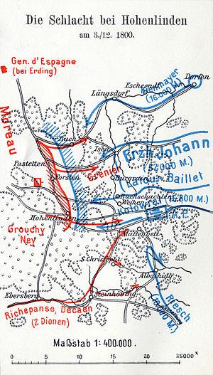 Battle of Hohenlinden - Plan of battle, from Schirmer's Kriegsgeschichtlicher Atlas
