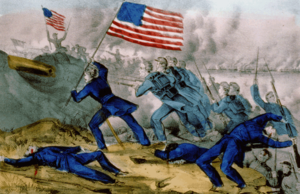 Currier and Ives print showing a group of blue-clad infantrymen charging a mound from which projects the mouth of a Confederate cannon. Two soldiers lie on the ground, presumably dead; a third is falling backward as if shot, still clutching his rifle. The most prominent feature is a standing soldier near the center, bearing an American flag. Other soldiers are shown to his right. In the distance is another American flag that is being waved from the top of the mound by a figure seen only in outline.