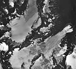Bear Lake Glacier, upper portions of the Bear Lake Glacier with firn line, and terminus of unnamed glacier with icefall, August (GLACIERS 6969).jpg