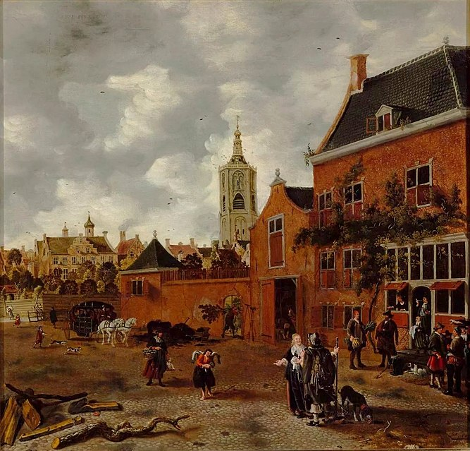 Street in The Hague by Sybrand van Beest, c. 1650,