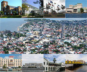 Left tae richt frae top: St. John's Cathedral, the Govrenment House, the CARICOM Banner Monument, the Bliss Institute, an Aerial o Belize Ceety, Princess Hotel an Casino, the Central Bank o Belize, Heich Coort Biggin an the Swing Brig