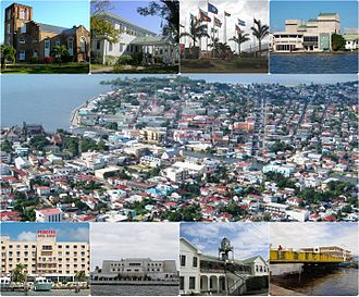 Belize City - Left to right from top: St. John's Cathedral, the Government House, the CARICOM Flag Monument,  the Bliss Institute, an Aerial of Belize City, Princess Hotel and Casino, the Central Bank of Belize, High Court Building and the Swing Bridge