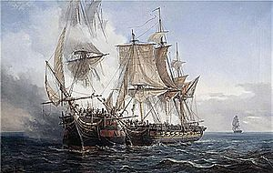 Action of 9 July 1806 - ''Bellone'' capturing the East Indiaman ''Lord Nelson'' on 14 August 1803.