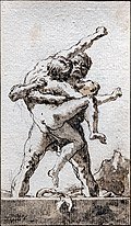Bemberg Fondation Toulouse - Hercule et Antée - Giandomenico Tiepolo - Lavis de sépia Inv.1046 19x11.jpg