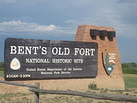 Bent's Old Fort entrance sign, CO IMG 5703