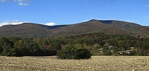 Taconic Mountains - Berlin Mountain (right) and Misery Mountain (left) seen from the east in South Williamstown, MA