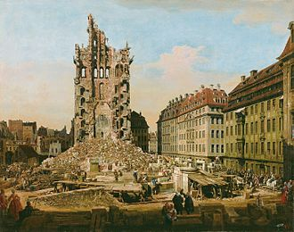 Kreuzkirche, Dresden - Old Church of the Cross, after the collapse of the Westwerk. Painting by Bernardo Bellotto, called Canaletto, c. 1765