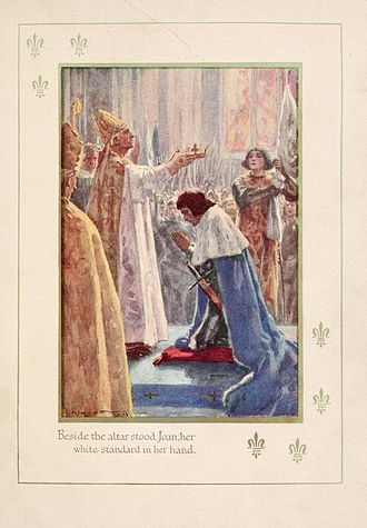 Charles VII of France - Joan of Arc at the coronation of Charles VII with her white flag