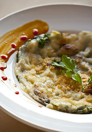 Oyster omelette - Modern-style Taiwanese oyster omelette.