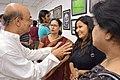 Biswatosh Sengupta Discussing with Ira Gayen and Madhura Gayen - 43rd PAD Group Exhibition - Kolkata 2017-06-20 0410.JPG