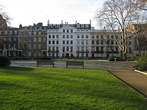 Garden square - Bloomsbury Square, a garden square in central London, England.