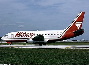 Bellview Airlines Flight 210 - The aircraft involved in the accident while still in operation with Midway Airlines in Fort Lauderdale - Hollywood International Airport in 1987.