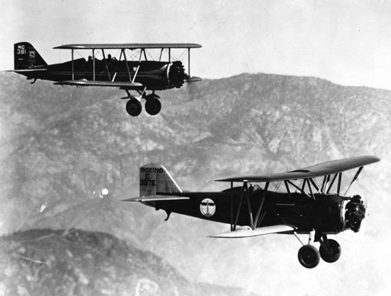 Boeing 95 (front) and Boeing 40 (rear) in flight
