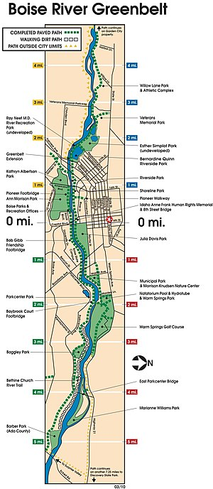 Boise greenbelt - Map of the Boise River Greenbelt within Boise.