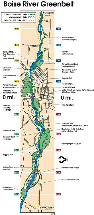 Boise greenbelt - Map of the Boise River Greenbelt within Boise.