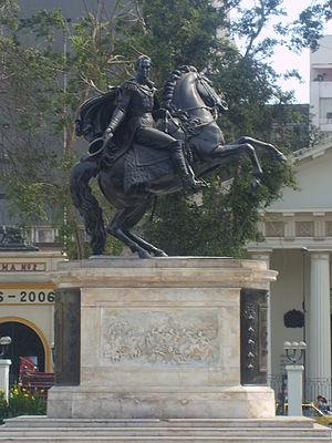 Monumento al Libertador del Perú Don Simón Bolivar en la Plaza del Congreso en Lima, Perú.