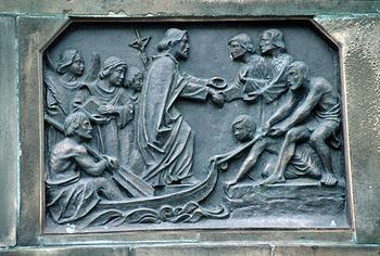 Boniface comes from England, relief on the base of the statue of St. Boniface by Werner Henschel (1830) in Fulda (detail)