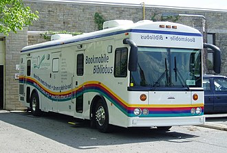 Bookmobile - The bookmobile of the Ottawa Public Library-this particular model is based on a Saf-T-Liner HDX chassis.
