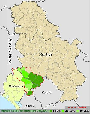 Bosniaks of Montenegro - Bosniaks of Serbia and Montenegro within the divided Sandžak region (dashed red line).