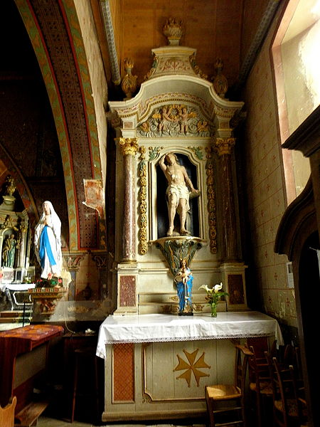 Église Saint-Pierre de Bouchamps-lès-Craon (53). Retable sud, de Saint-Sébastien.