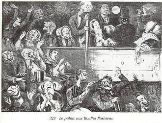 Operetta - The audience at the Théâtre des Bouffes-Parisiens, the birthplace of Jacques Offenbach's operettas (1860)