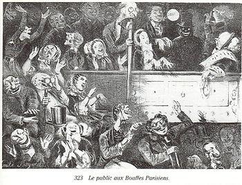 El público en las «Bouffes parisiens».Caricatura de Émile Bayard (hacia 1860).<7Center>