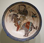 Bowl with horseman, Mina'i ware, Central Iran, Seljuk period, late 12th or early 13th century, earthenware with polychrome enamels over white glaze - Cincinnati Art Museum - DSC04024.JPG